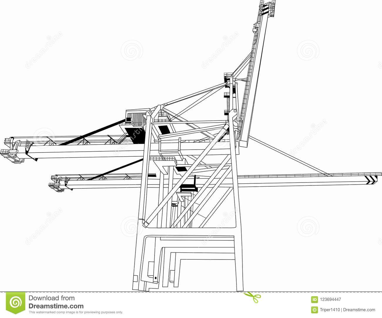 hight resolution of vector building tower crane