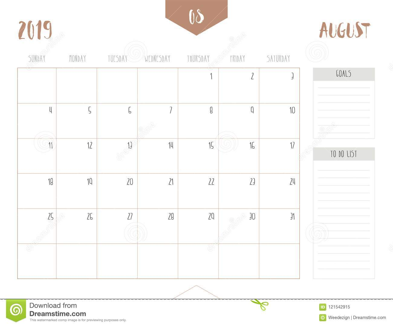 Vector Of Calendar 2019 August In Simple Clean Table Style