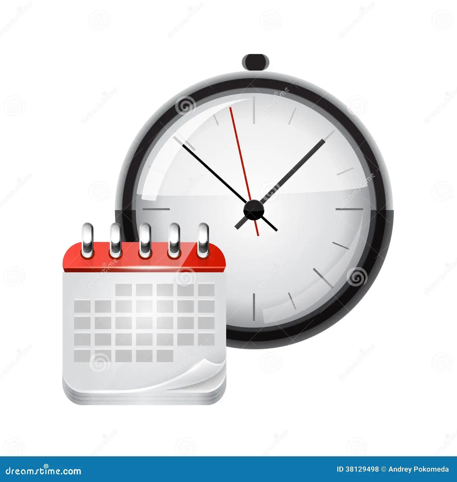 Vector Calendar With A Clock Royalty Free Stock Photos