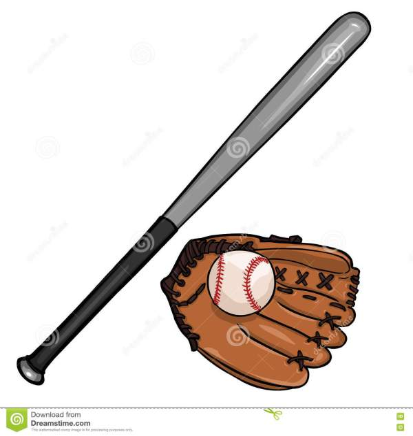 Vector Cartoon Baseball Bat Ball And Glove Stock Illustration - 77735879