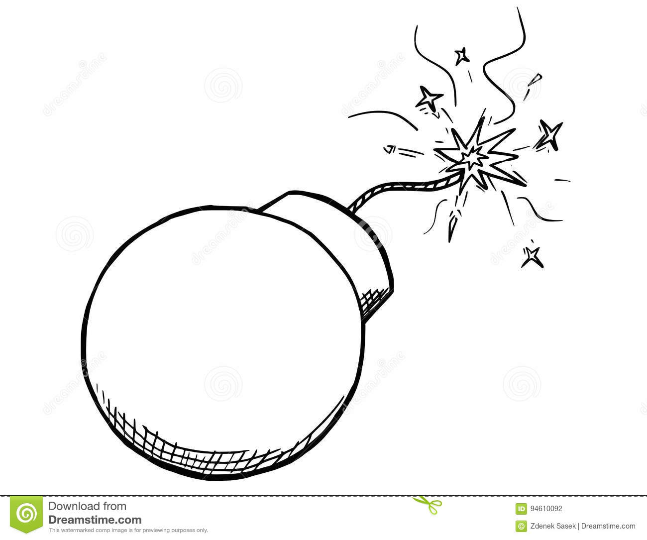 Vector Cartoon Of Bomb With Fuse Burning Stock Vector