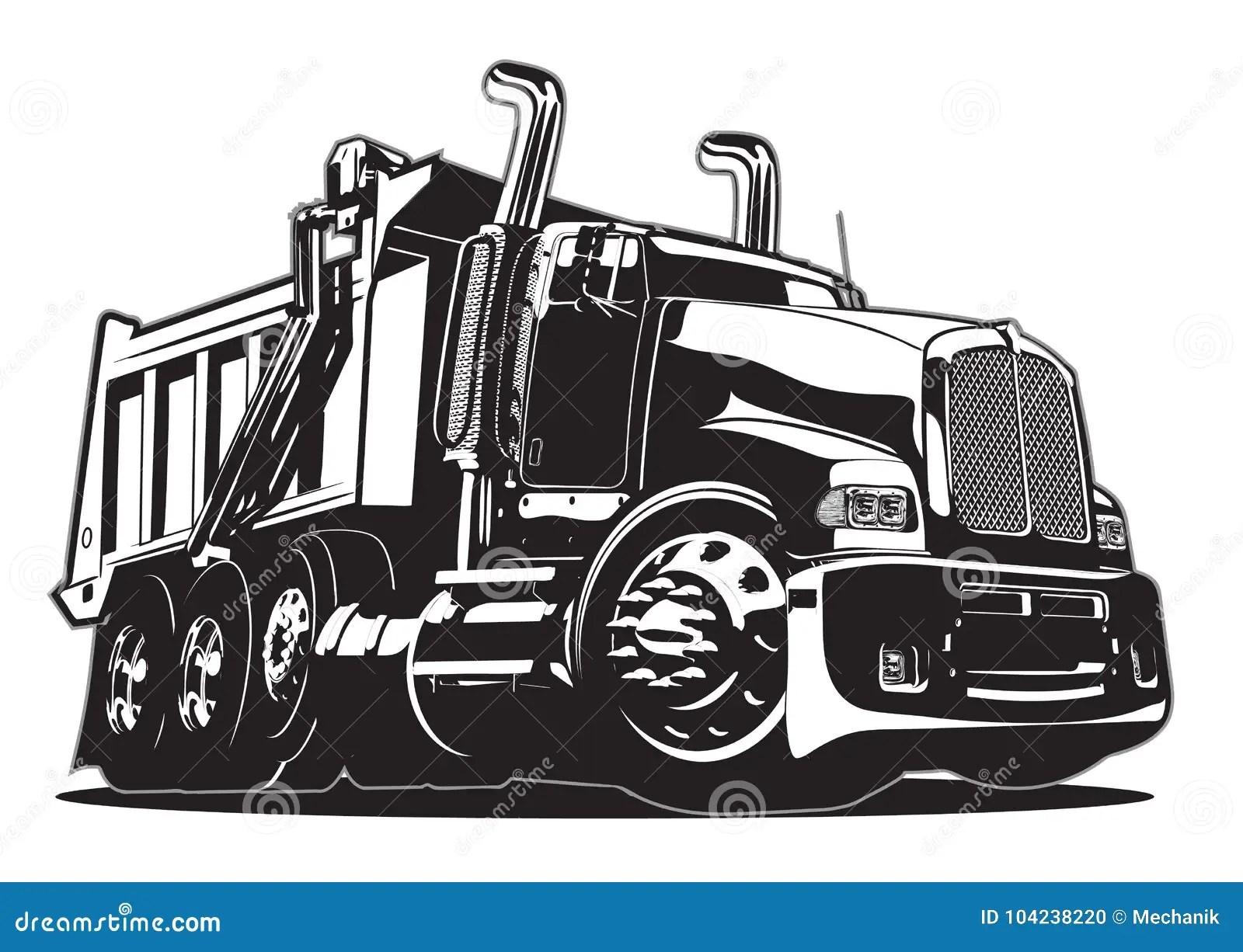 Vector Cartoon Dump Truck Stock Vector Illustration Of