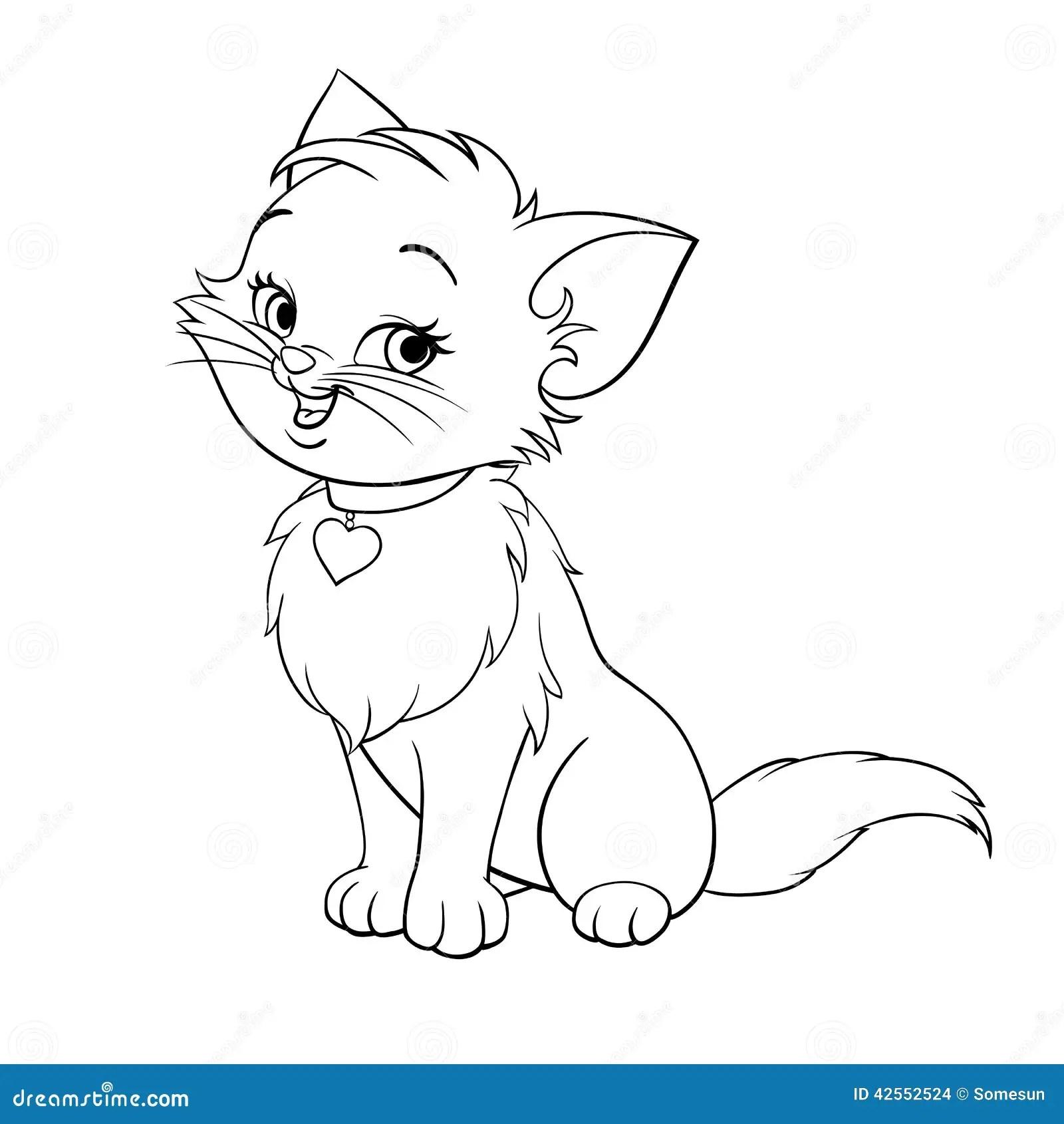 Vector Cartoon Fun Cute Kitten Line Art Stock Vector