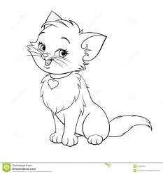 cat cartoon kitten cute line coloring drawing smiling happy vector drawings clipart illustration character fun pages books 123clipartpng