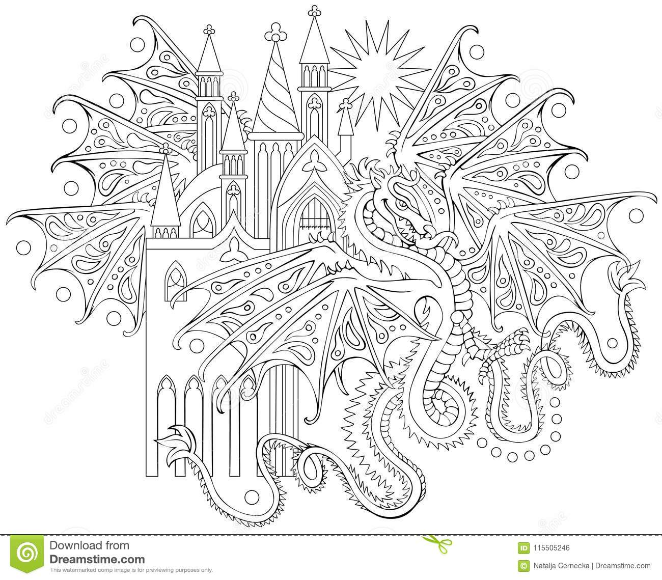 Black And White Page For Coloring Fantasy Drawing Of Flying Dragon Worksheet For Children And