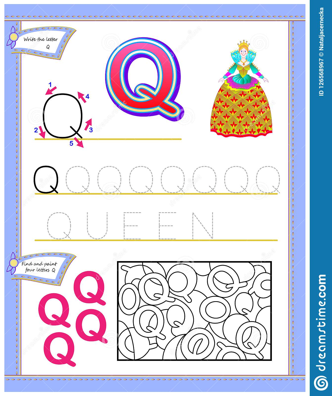 Worksheet For Kids With Letter Q For Study English