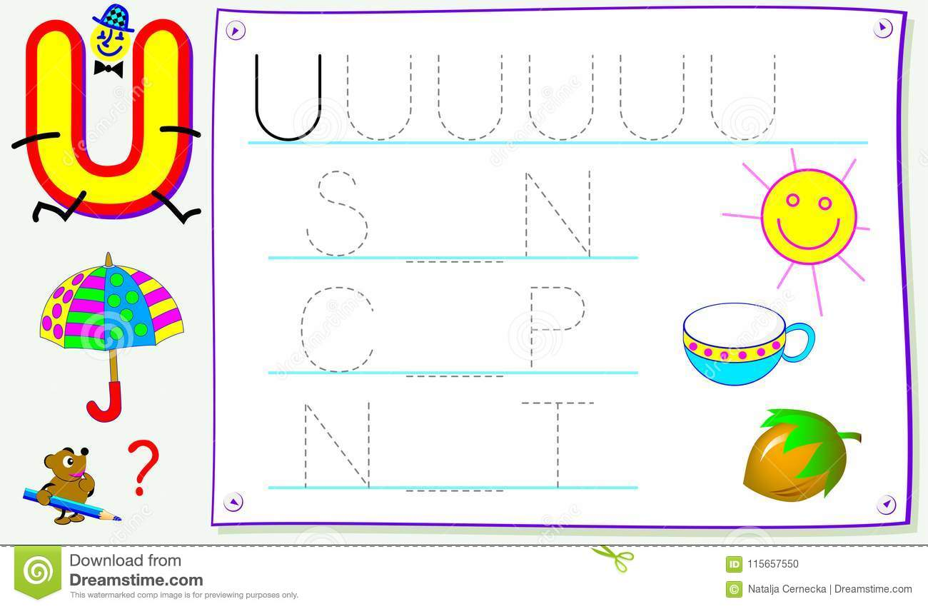 Educational Page For Young Children With Letter U For