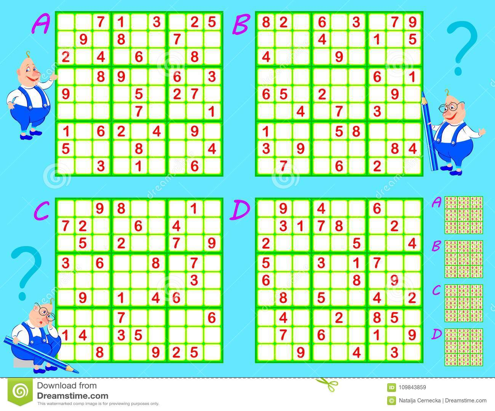 Logic Sudoku Game Set Of Puzzles Worksheet For Children