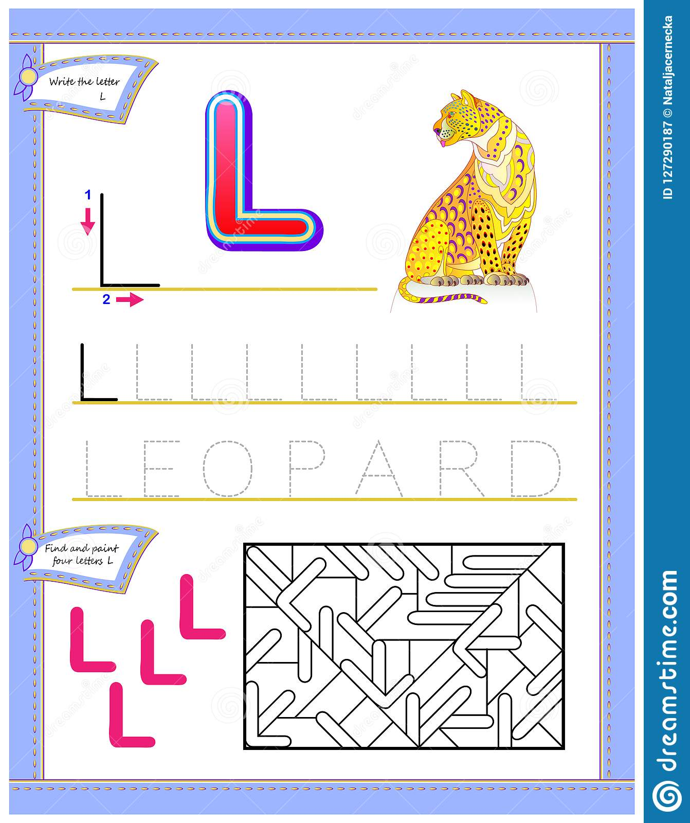 Worksheet For Kids With Letter L For Study English