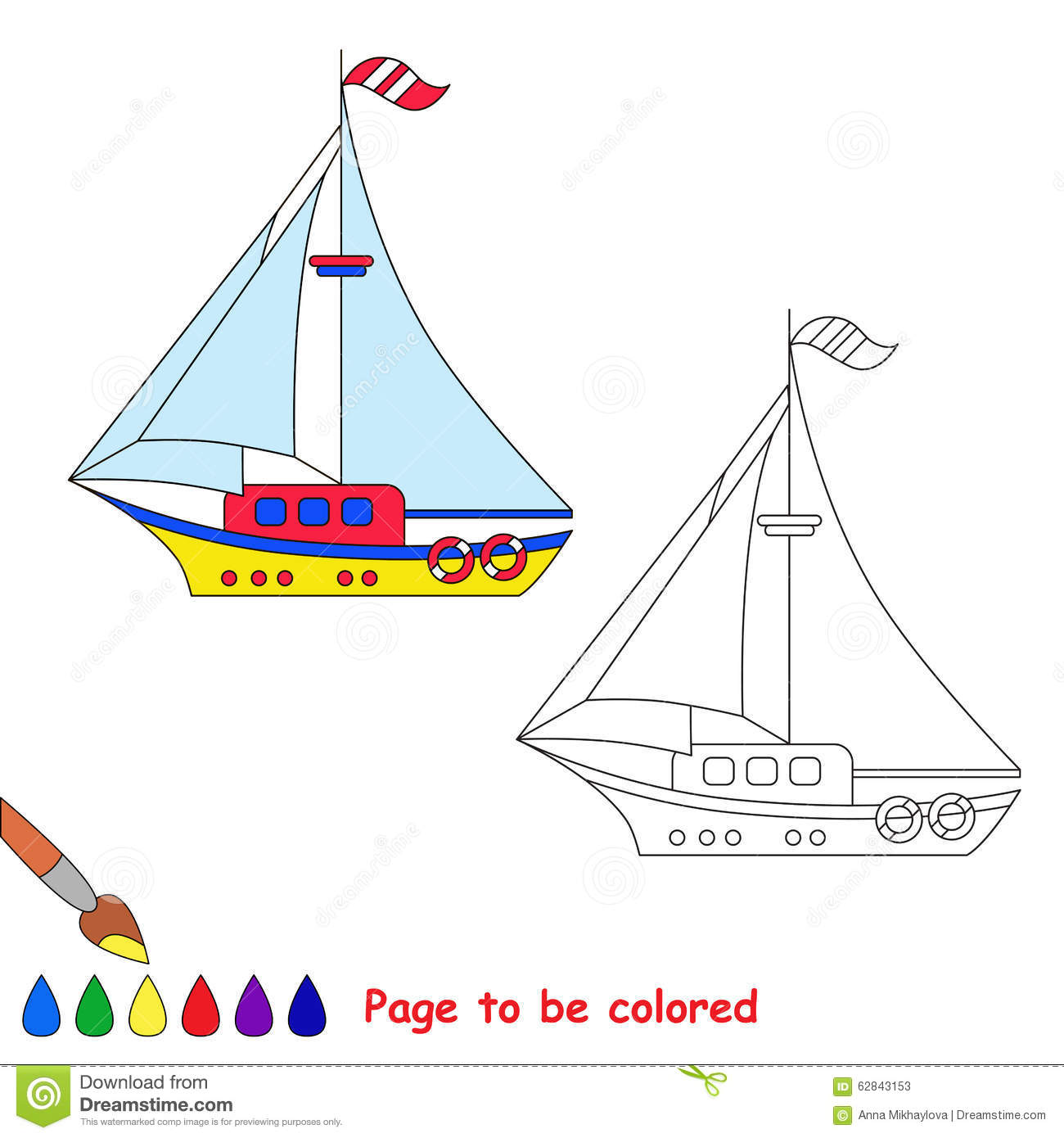 Vector Cartoon Toy Boat To Be Colored Stock Vector