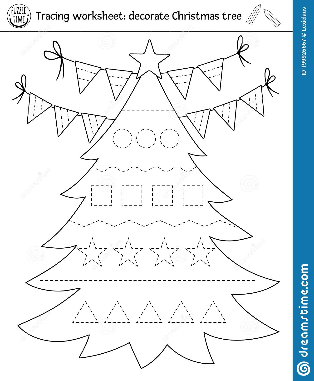 Vector Christmas Handwriting Practice Worksheet Winter