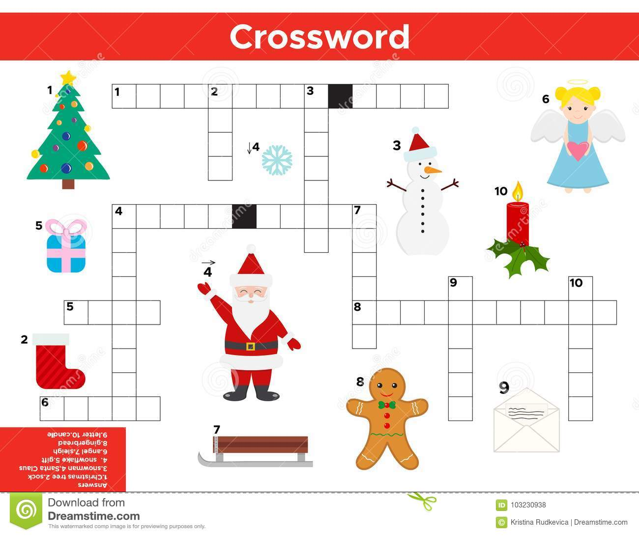Vector Christmas New Year Crossword In English Stock Vector