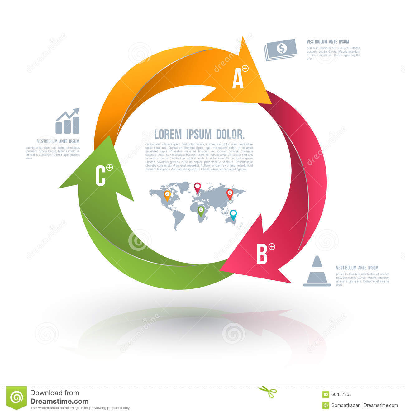 3 arrow circle diagram ms project network one page vector arrows for infographic stock