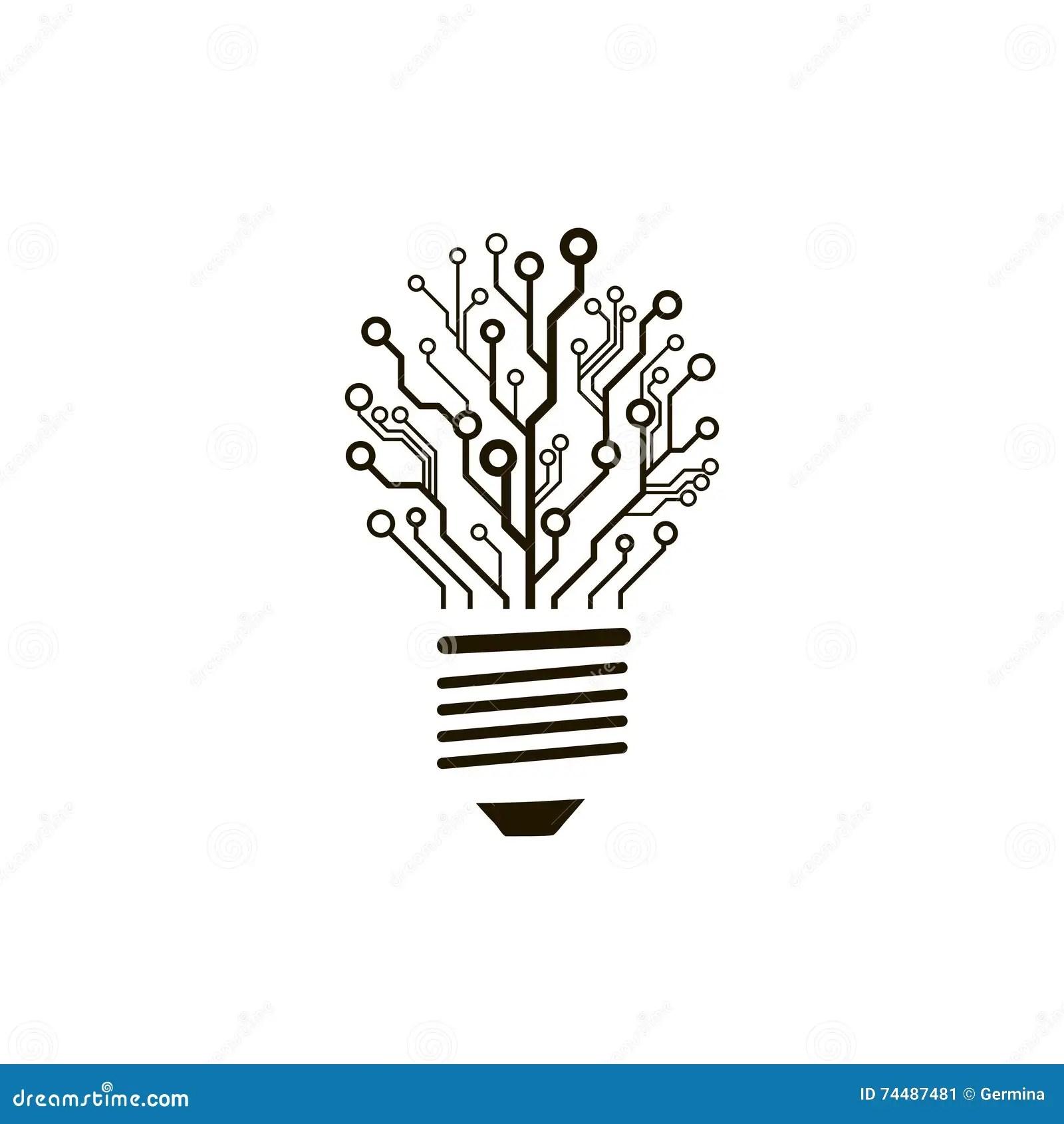 Vector Circuit Board Bulb Stock Vector Illustration Of
