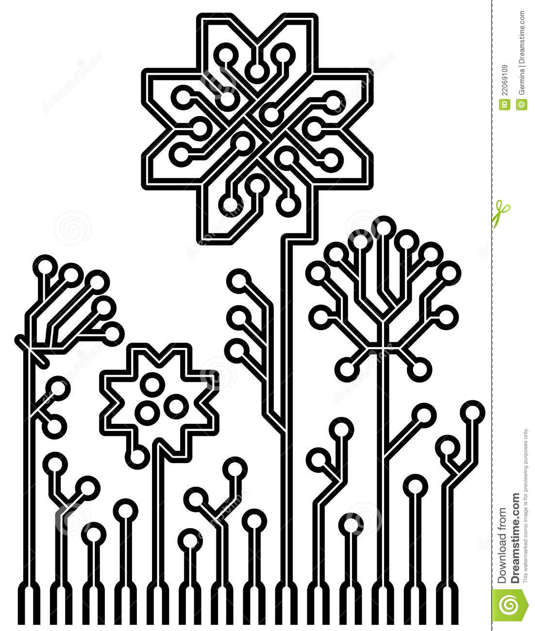 Vector Circuit Board Flowers For Your Design Royalty Free