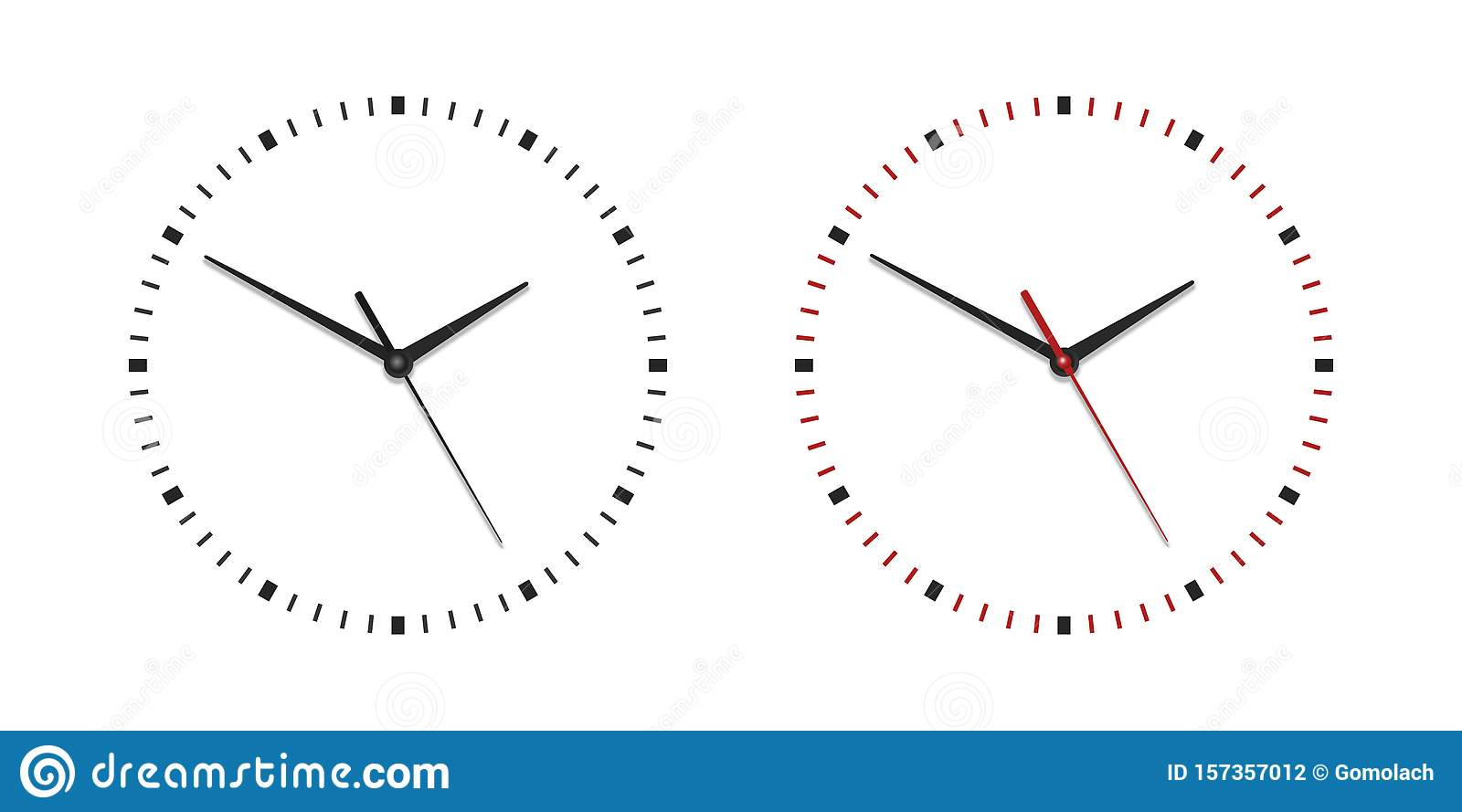 Vector Classic Simple Wall Clock Without Numbers Isolated