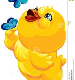 easter illustration of a cheerful yellow bird catching butterflies vector clipart chicken with butterflies vector easter illustration [ 918 x 1300 Pixel ]