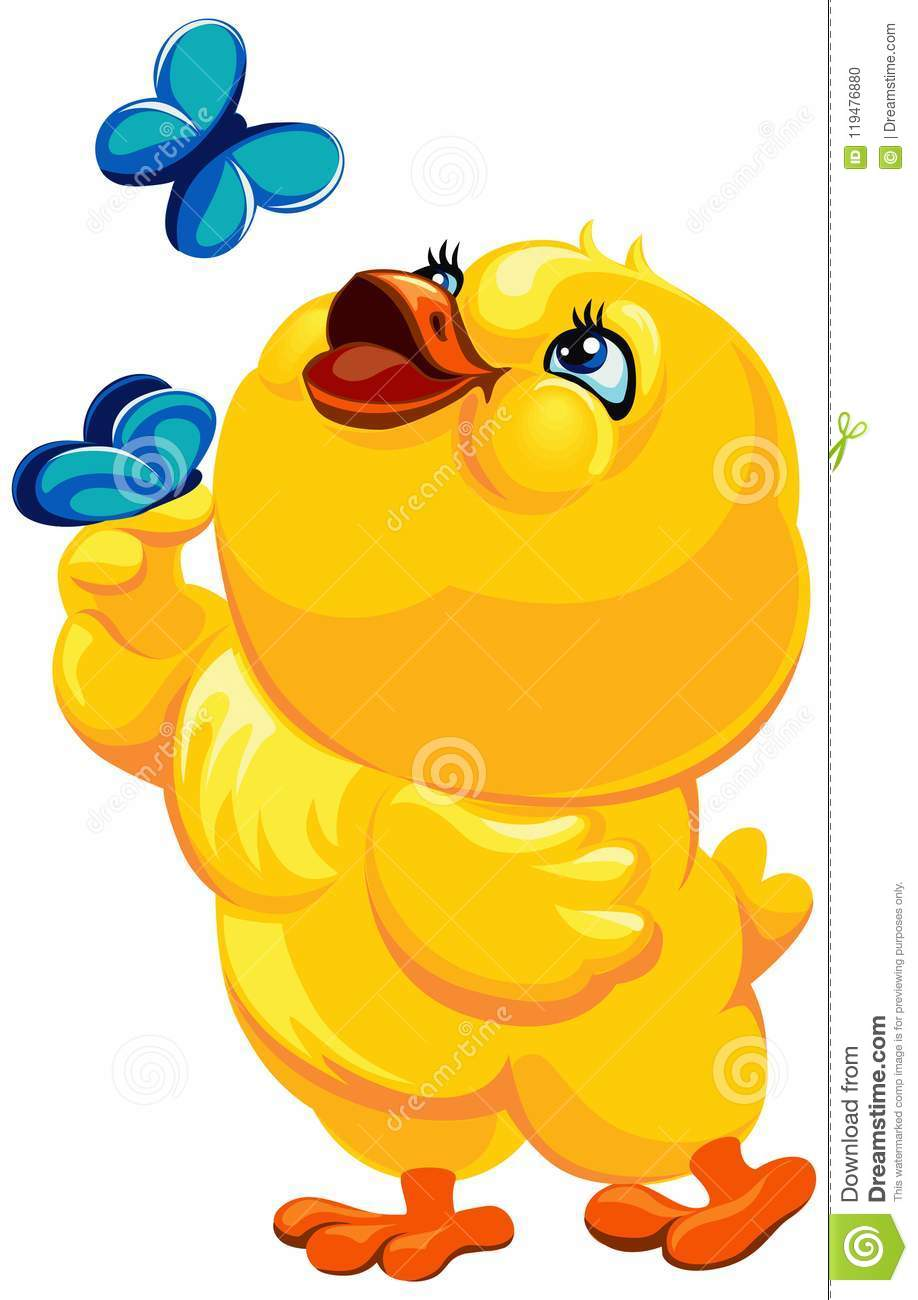 hight resolution of easter illustration of a cheerful yellow bird catching butterflies vector clipart chicken with butterflies vector easter illustration