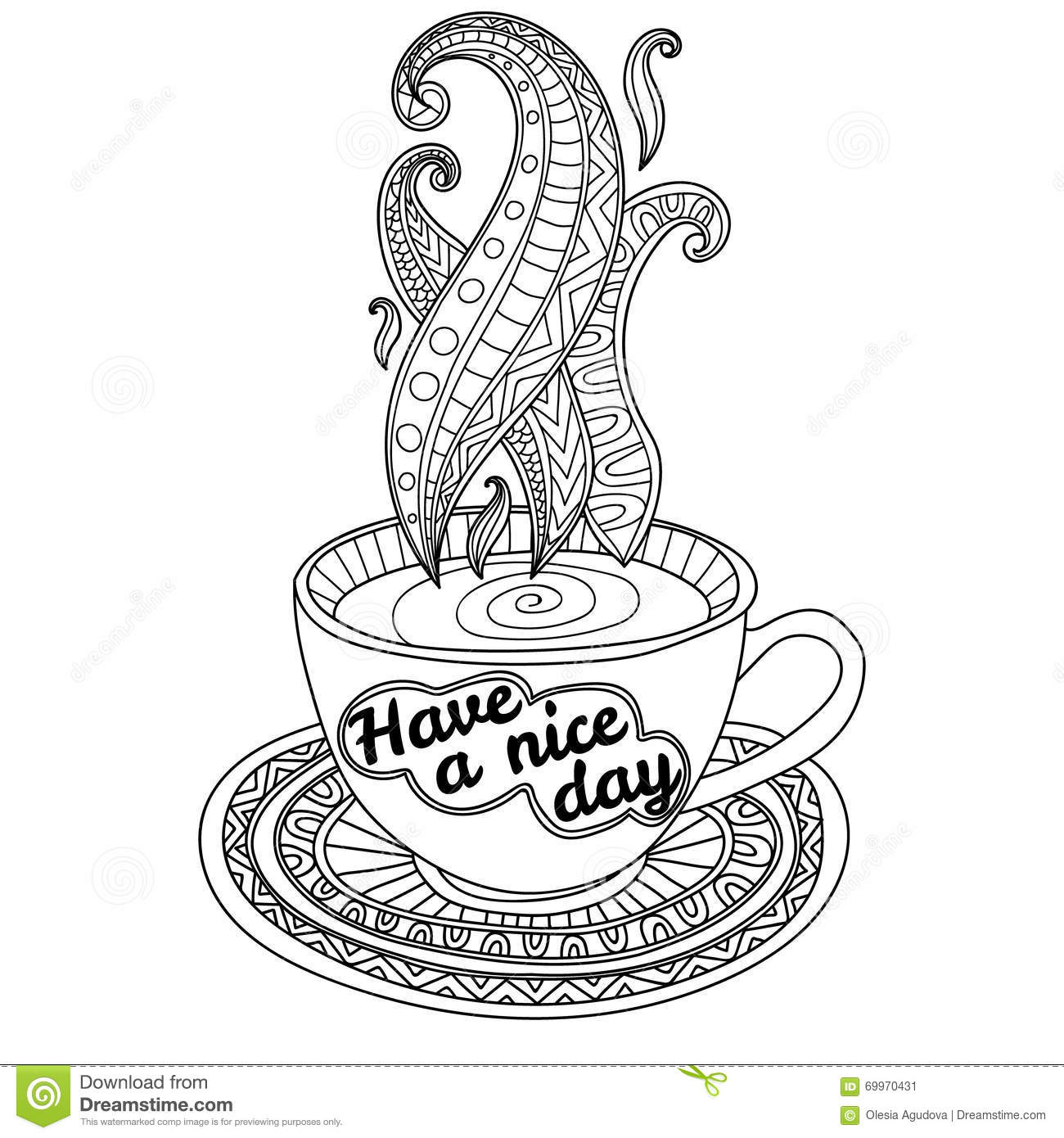Vector Coffee Or Tea Cup With Abstract Ornaments And