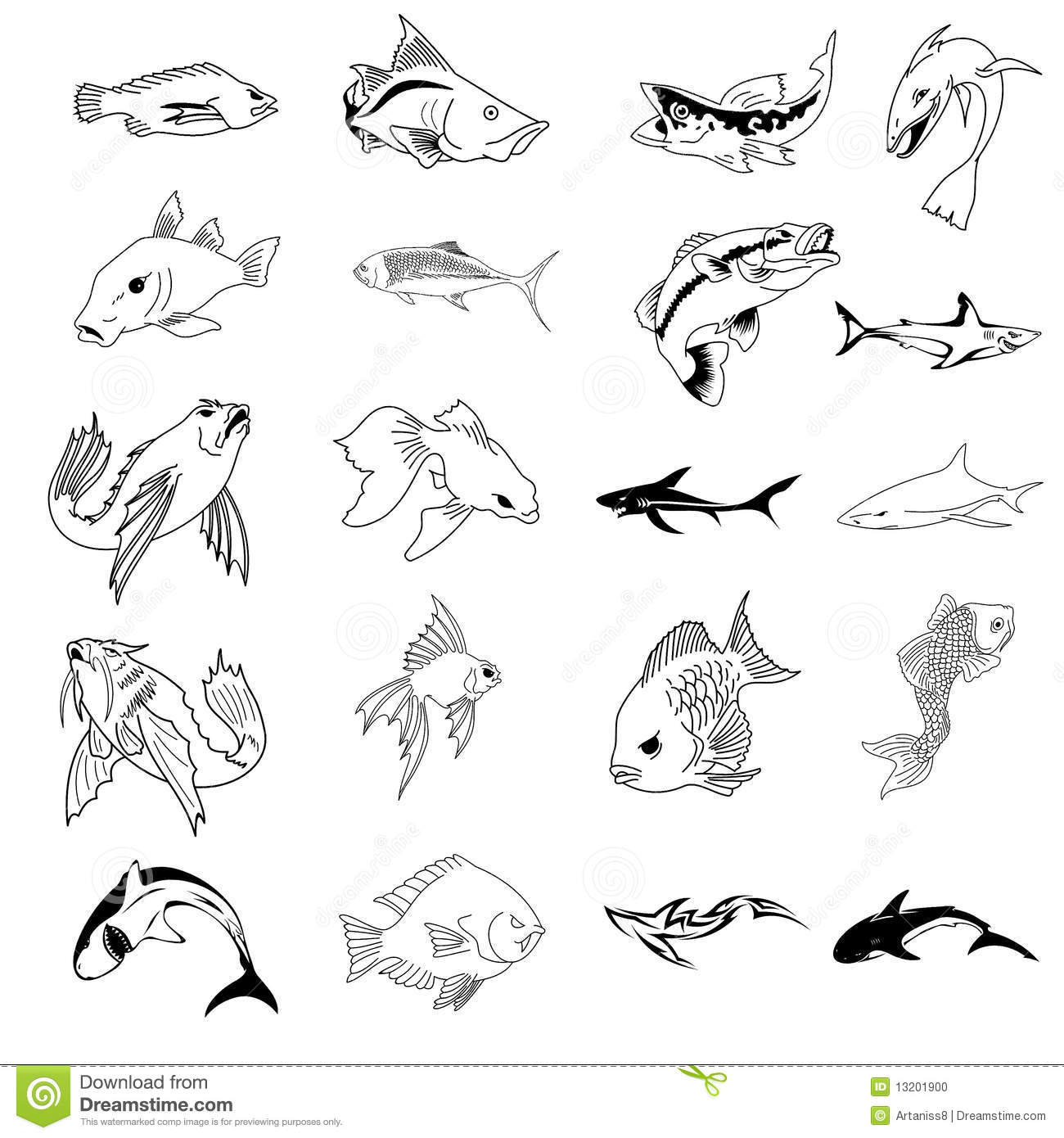 Vector Collection Of 30 Fish Types Stock Vector