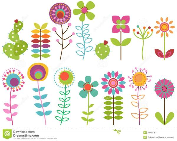 Vector Collection Of Funky Retro Stylized Flowers Stock