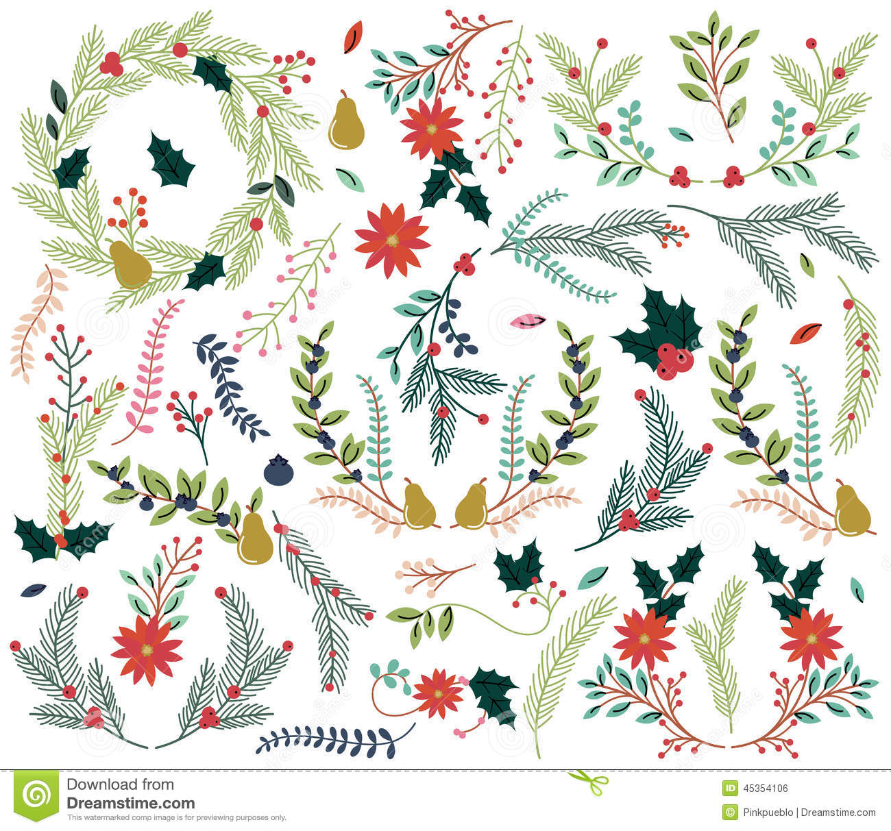 Vector Collection Of Vintage Style Hand Drawn Christmas