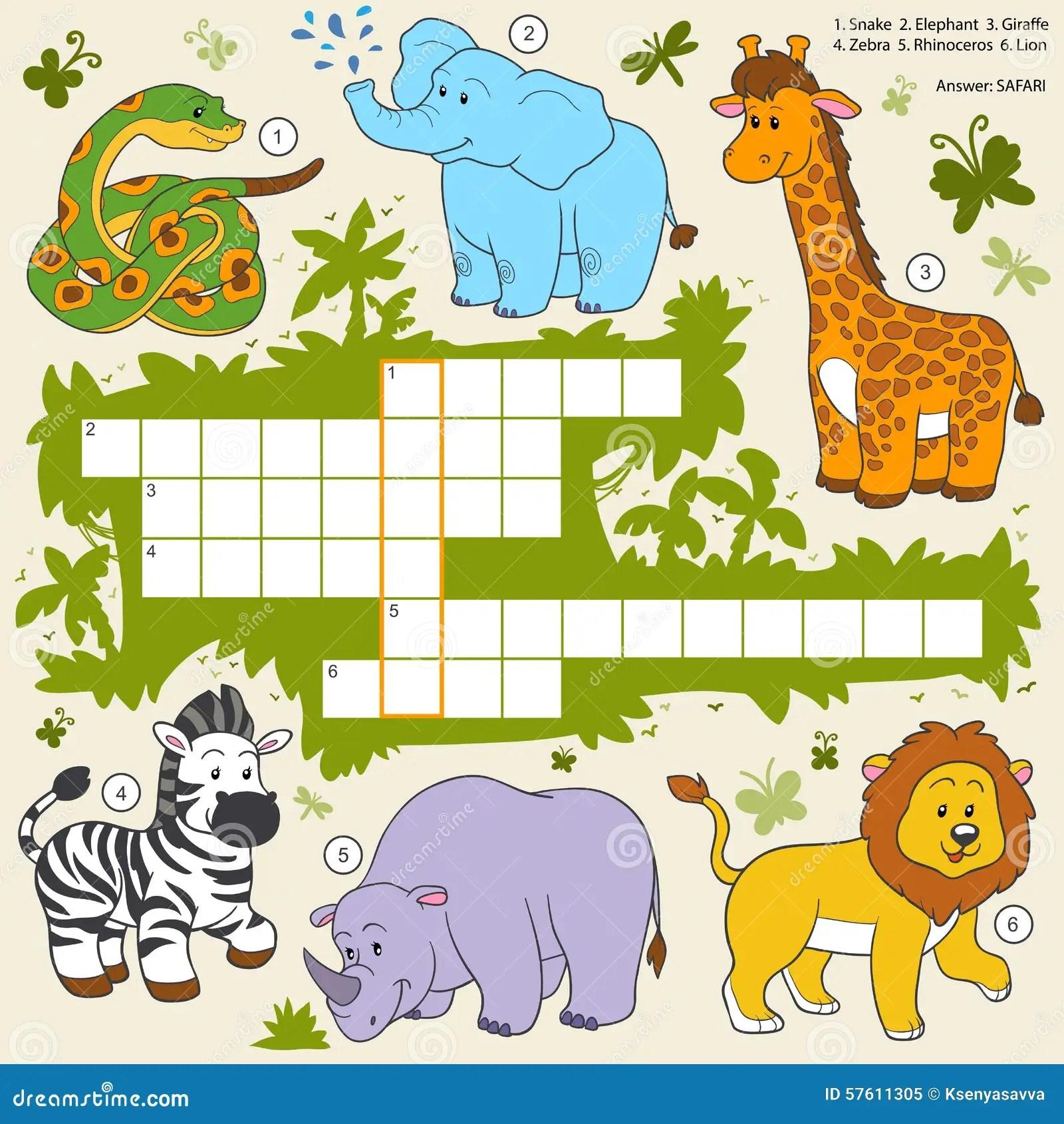Vector Color Crossword Education Game About Safari