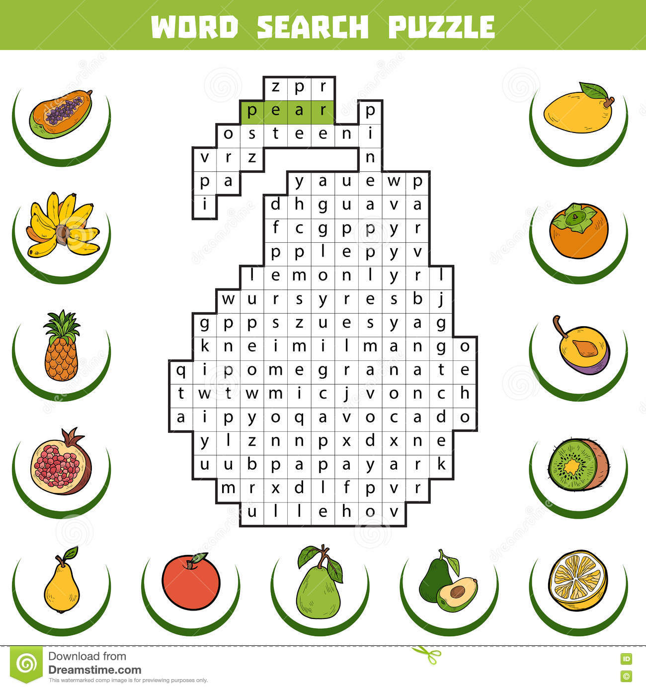 Vector Color Crossword About Fruits Word Search Puzzle