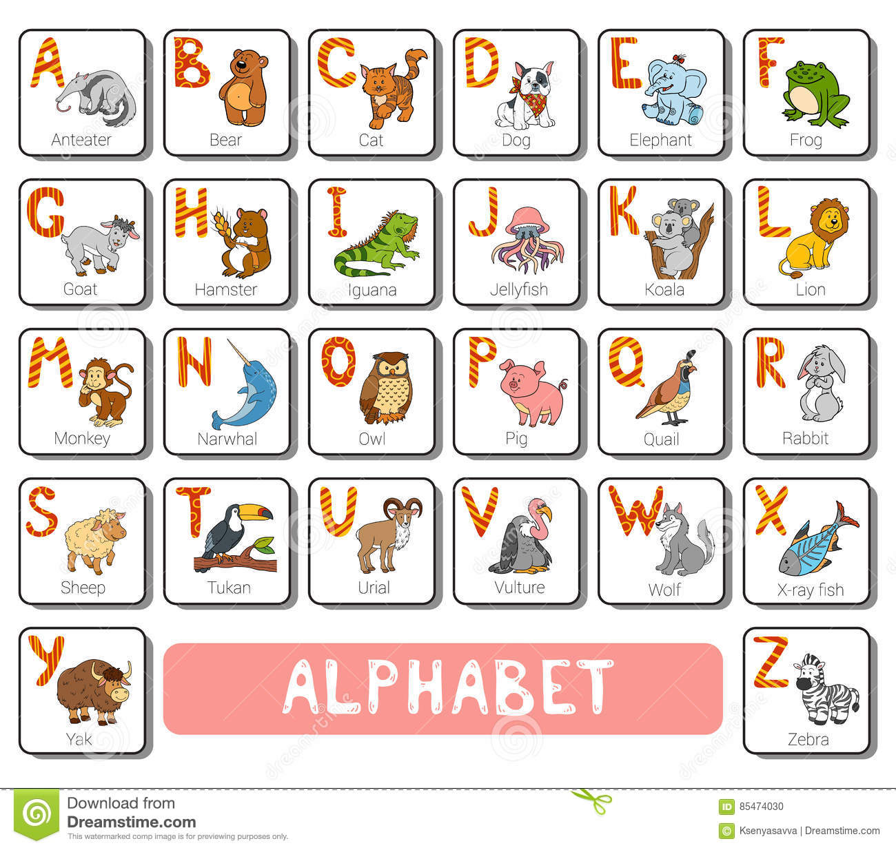 Vector Color Zoo Alphabet Square Card With Animals Stock Vector