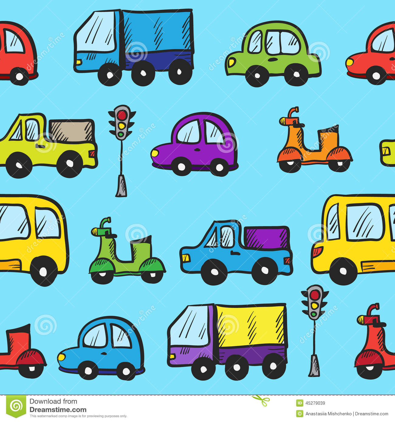 Cars Little Boy Wallpaper Vector Colorful Hand Drawn Doodle Cartoon Cars Stock