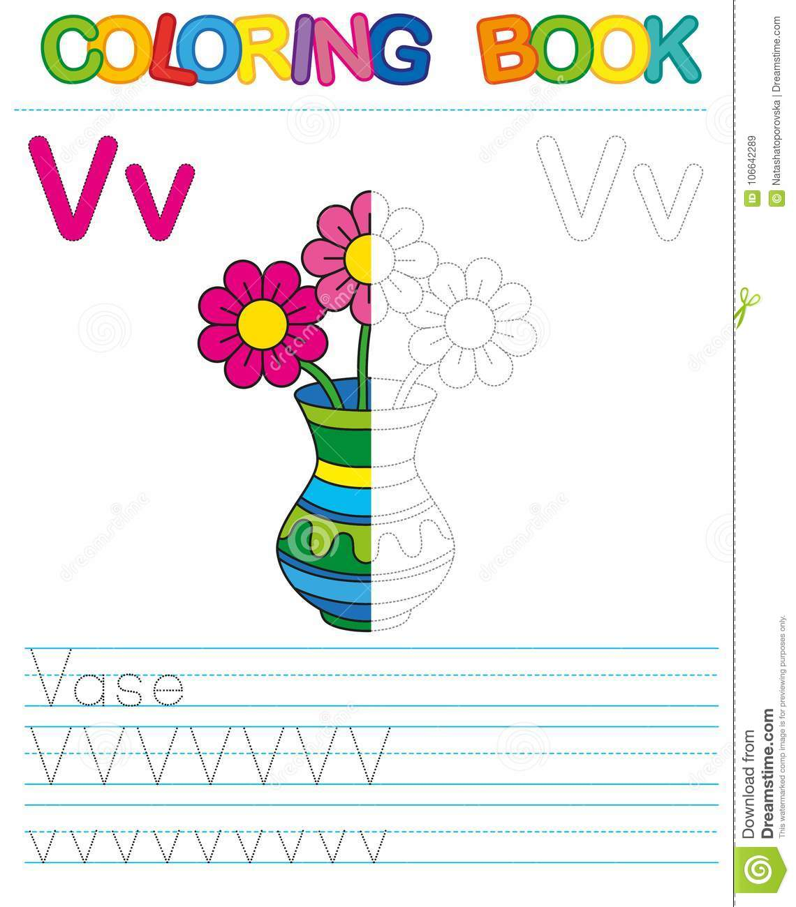 Vector Coloring Book Alphabet Restore Dashed Line And
