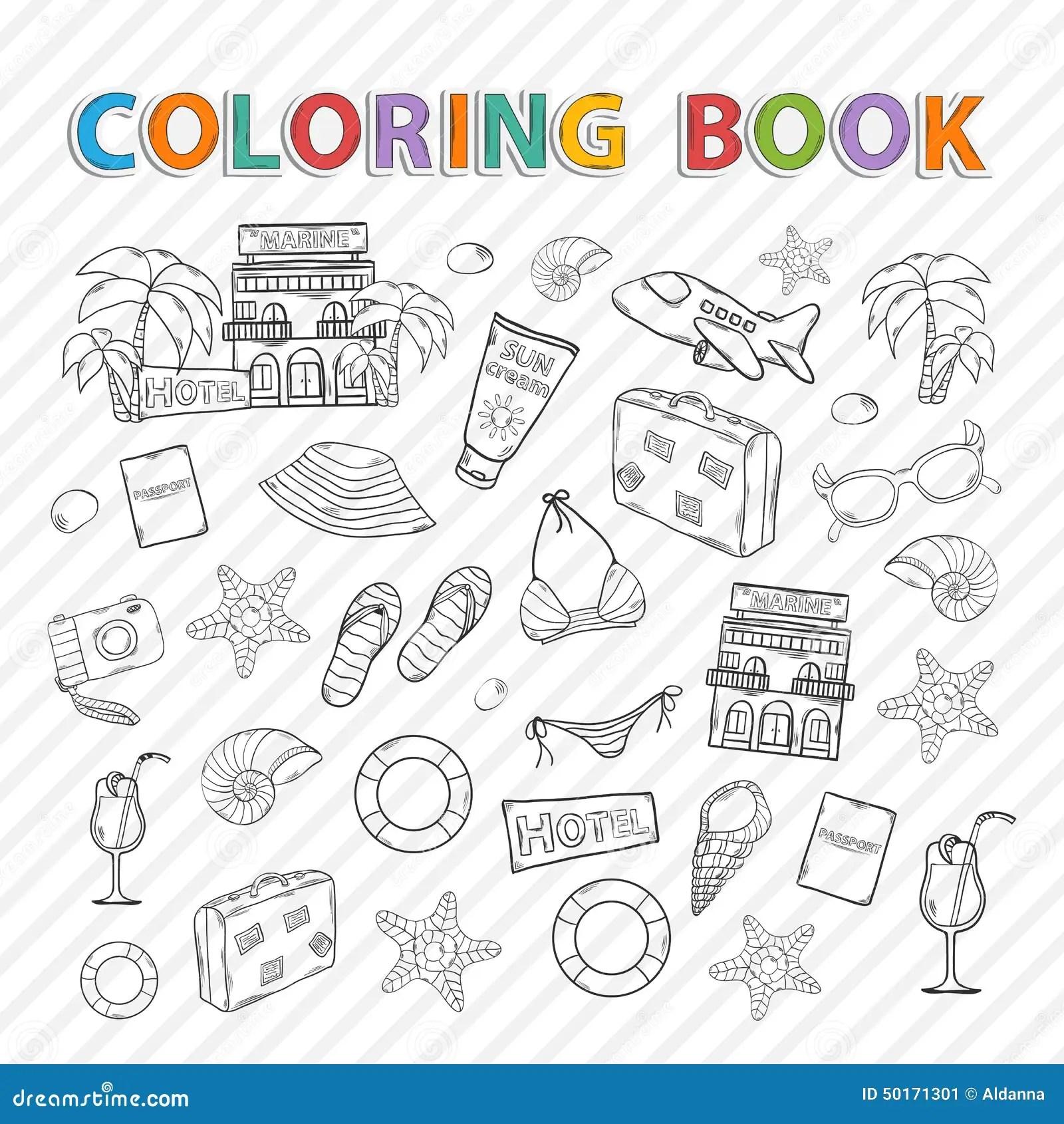 Vector Coloring Bookmmer Set Stock Vector