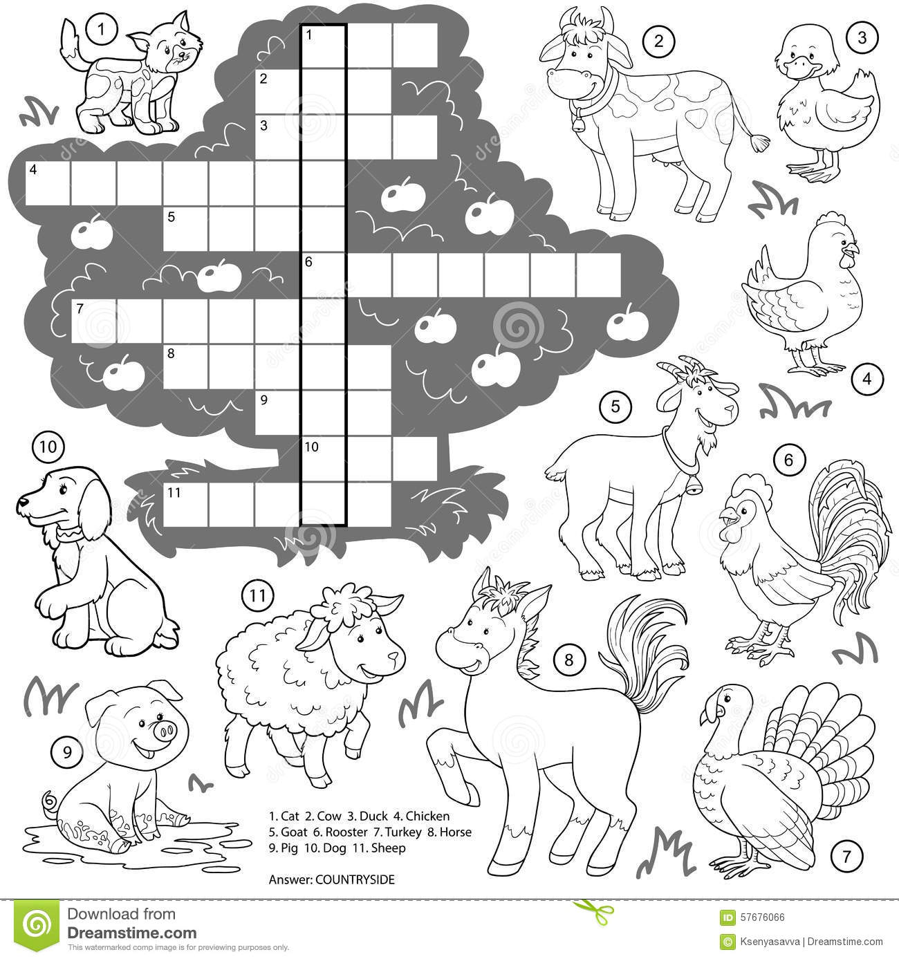 Vector Colorless Crossword, Education Game About Farm