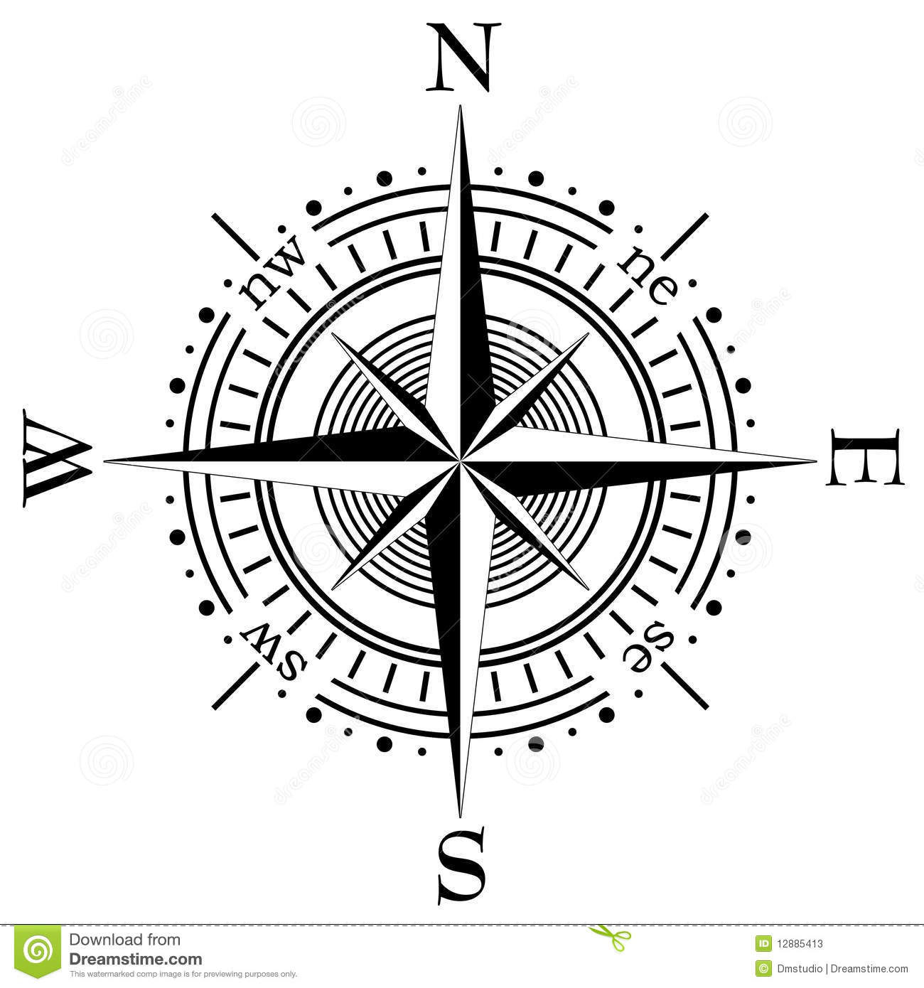 Vector Compass Stock Vector Illustration Of South Rose