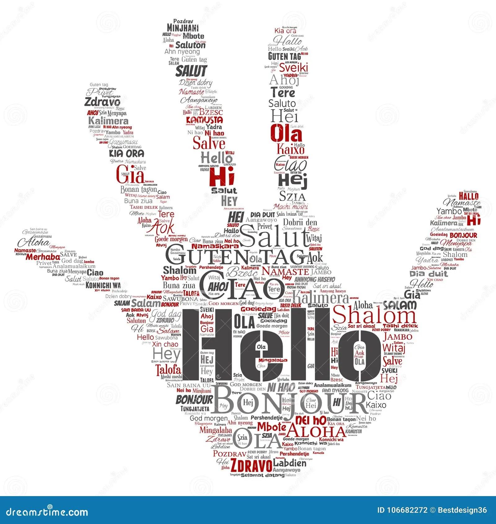 Vector Hand Print Stamp Hello Greeting International T
