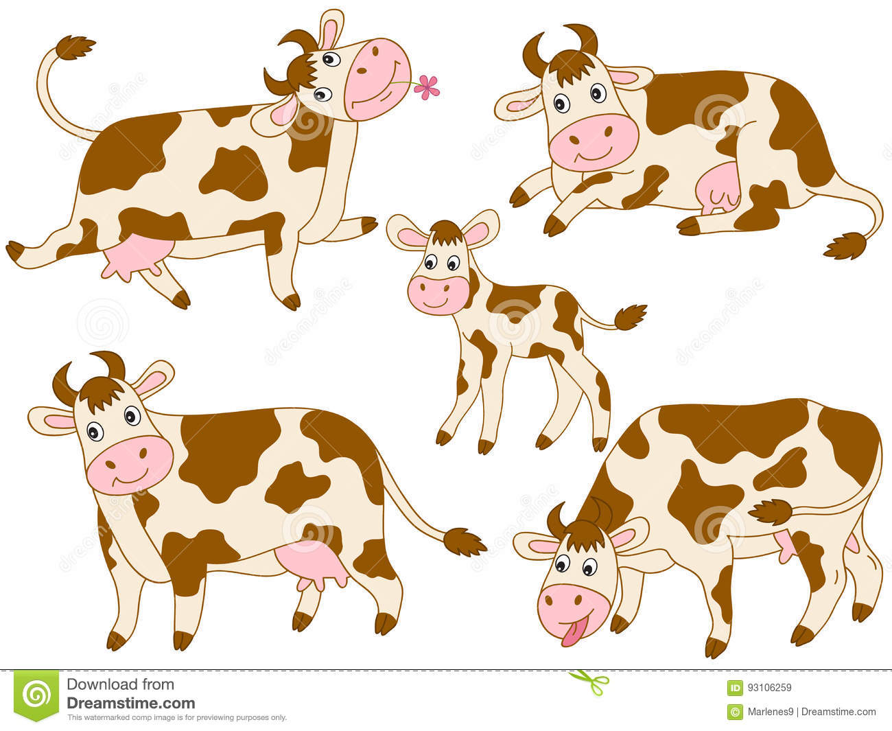 hight resolution of vector cartoon cute cows set cow clipart