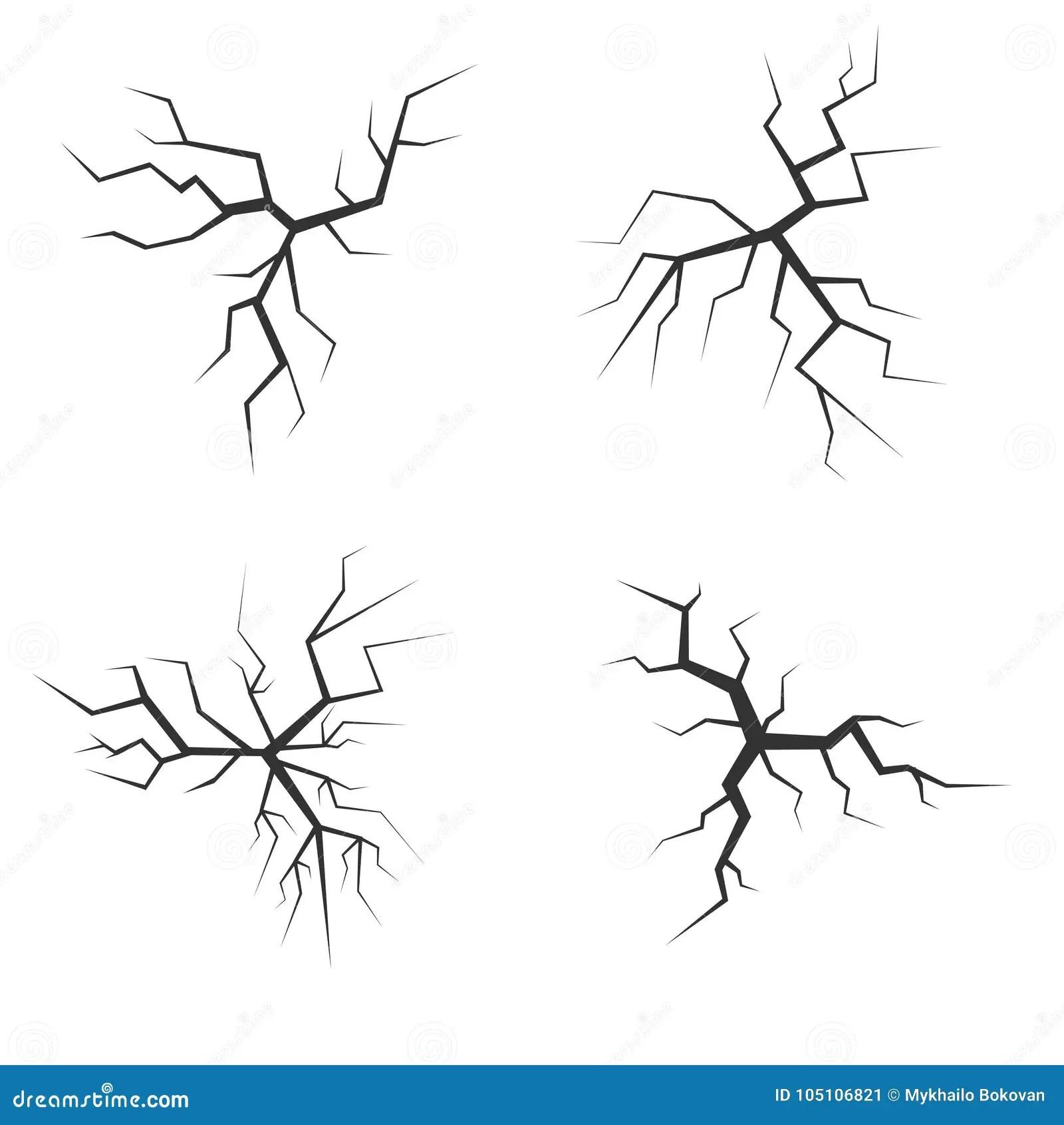 Vector Crack Set Stock Vector Illustration Of Black