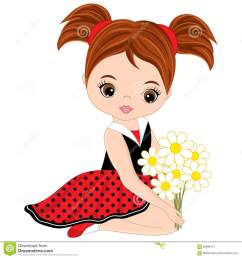 vector cute little girl with flowers [ 1300 x 1390 Pixel ]