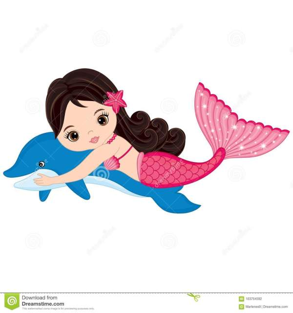 Vector Cute Little Mermaid Swimming With Dolphin Stock