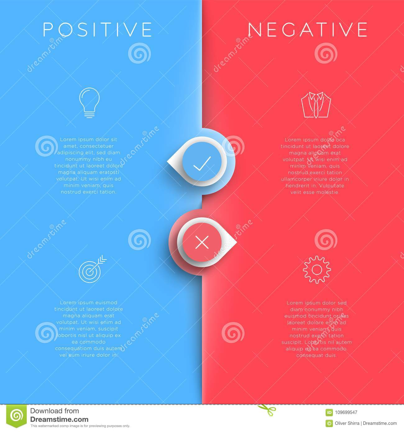Positive Negative List Template With Arrow Points Stock