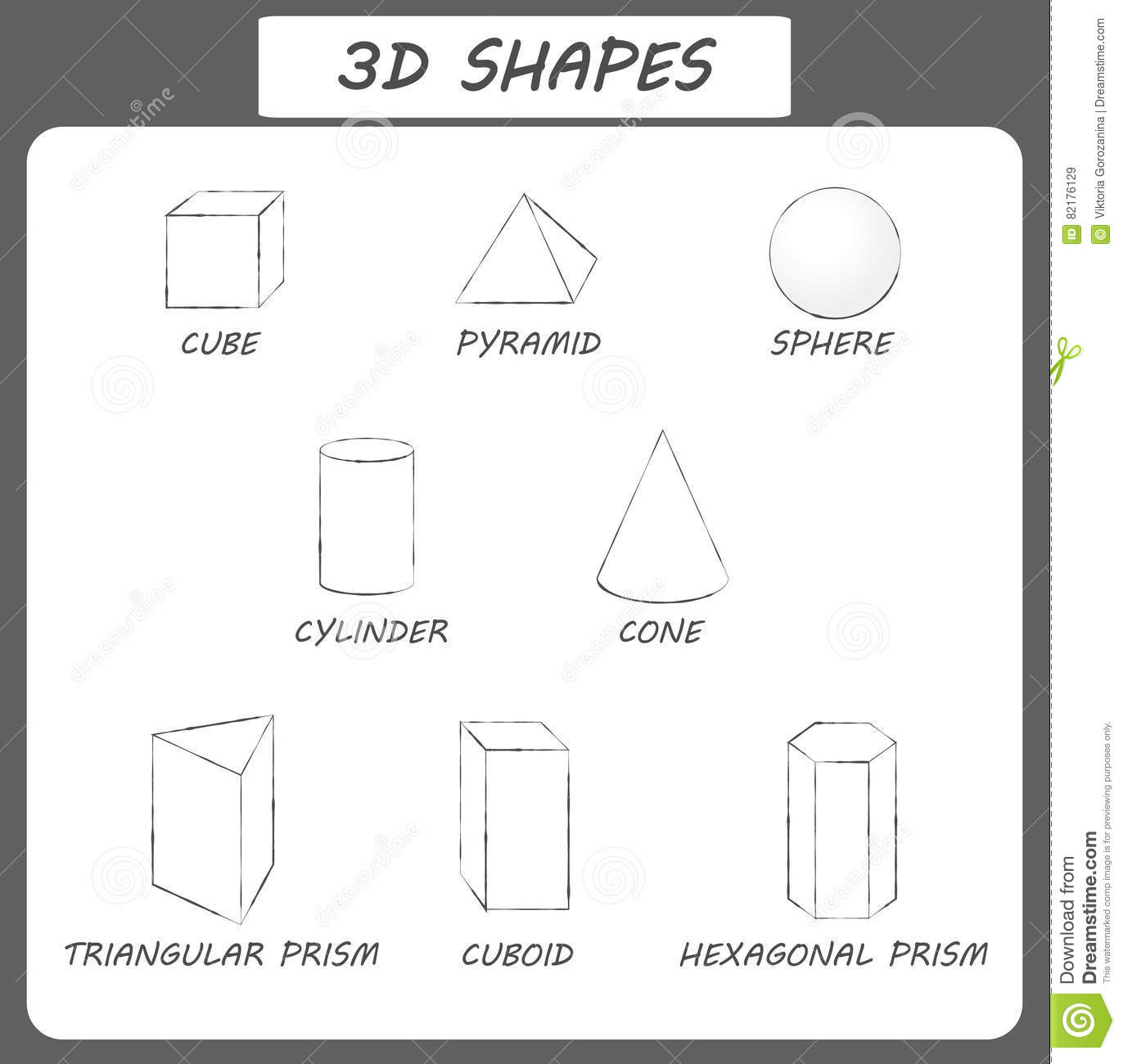 Vector 3d Shapescational Poster For Children Set Of