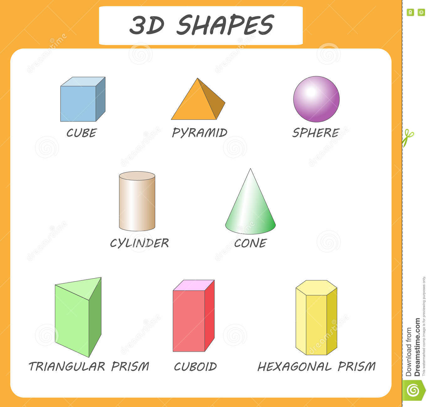 Vector 3d Shapes Cational Poster For Childrent Of 3d