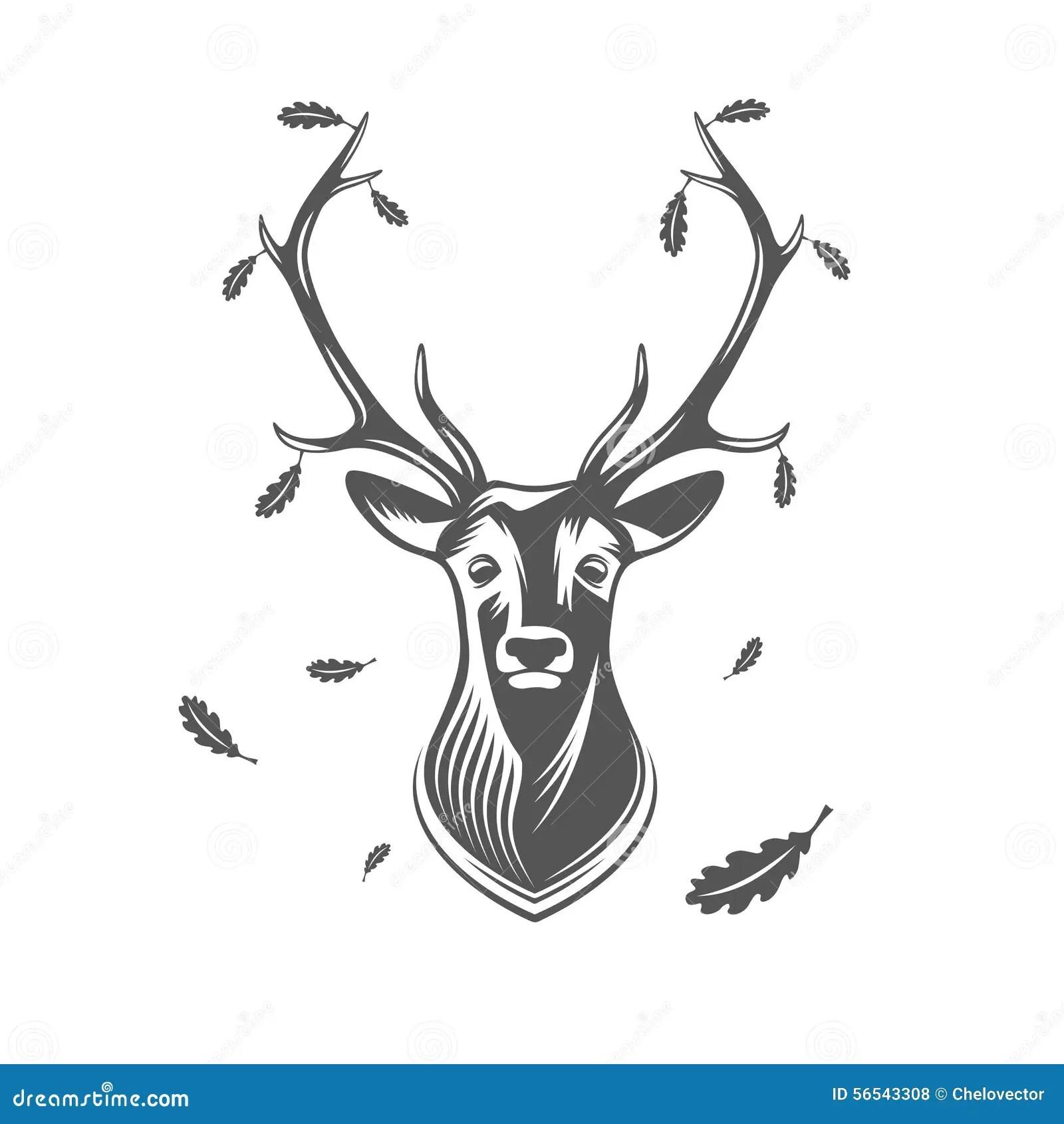 Mounted Deer Head Silhouette Vector Illustration