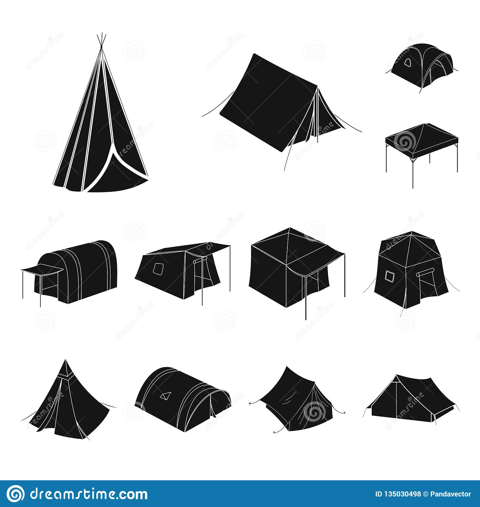 Vector Design Of Tent And Camp Logo. Set Of Tent And Forest Vector Icon For Stock. Stock Vector - Illustration of element. tourism: 135030498