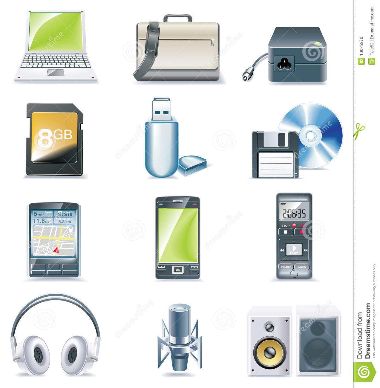 Vector Detailed Computer Parts Icon Set Part 3 Stock Vector