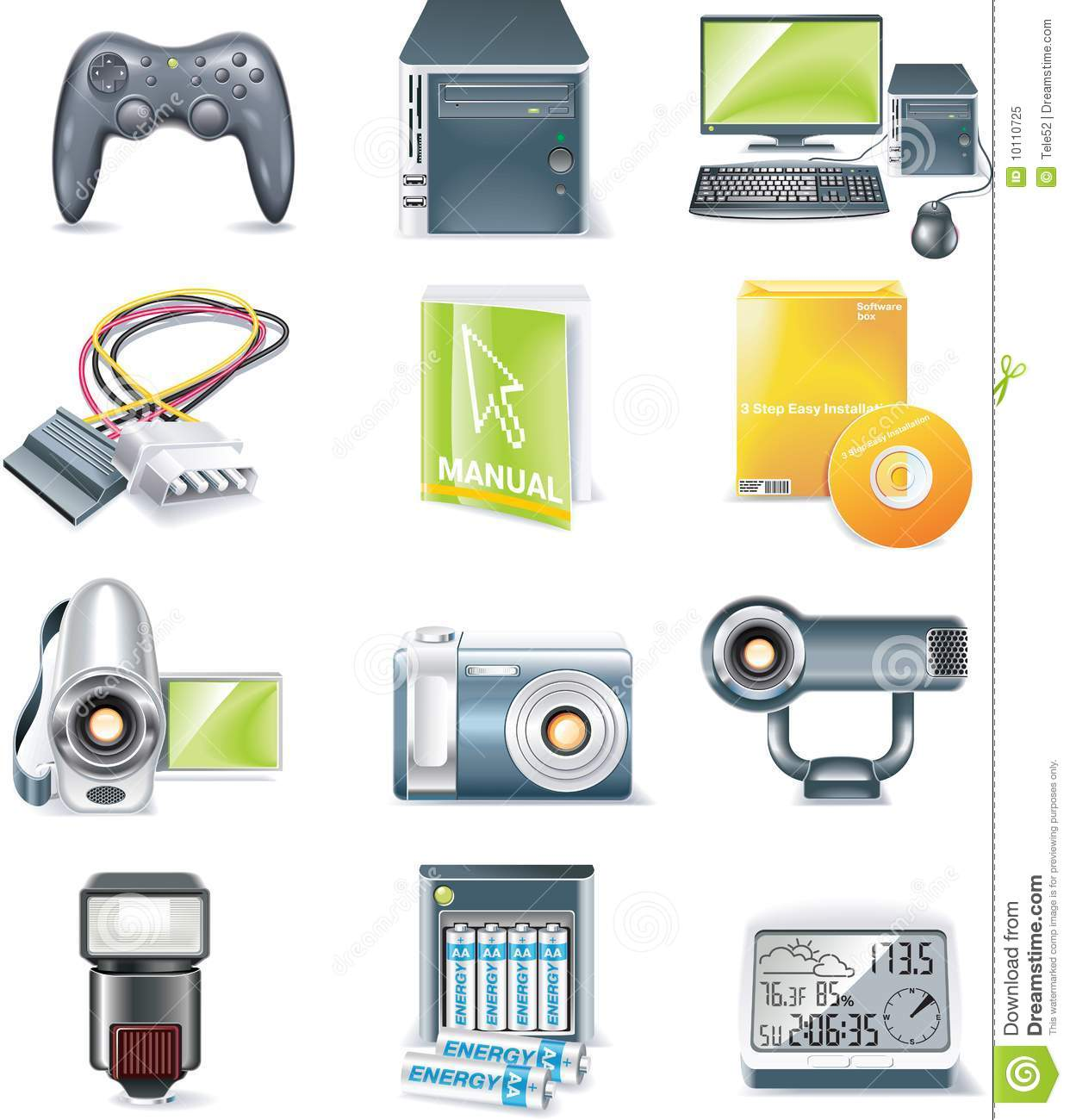 Vector Detailed Computer Parts Icon Set Part 5 Stock