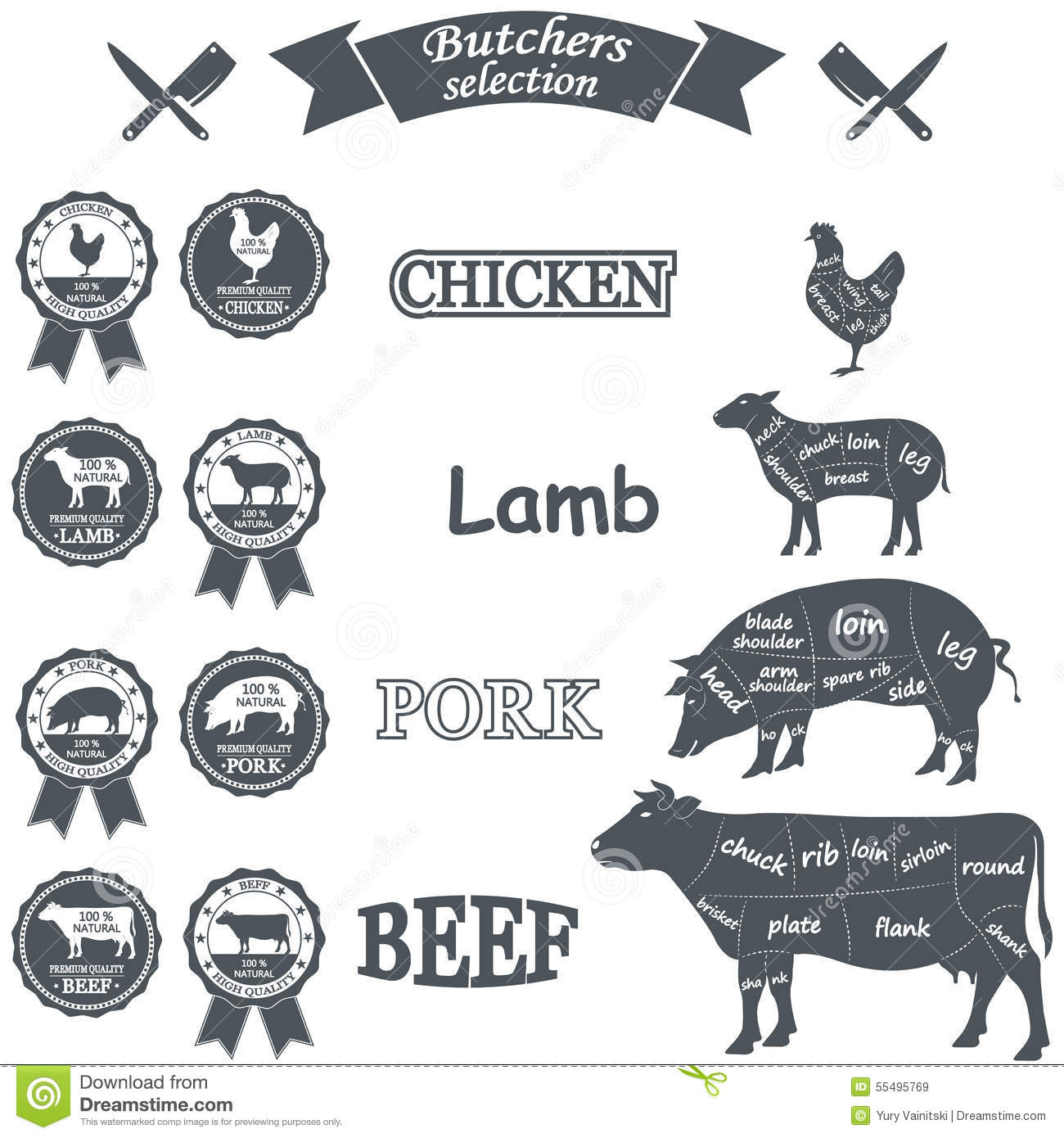 Vector Diagram Cut Carcasses Of Chicken Pig Cow Stock