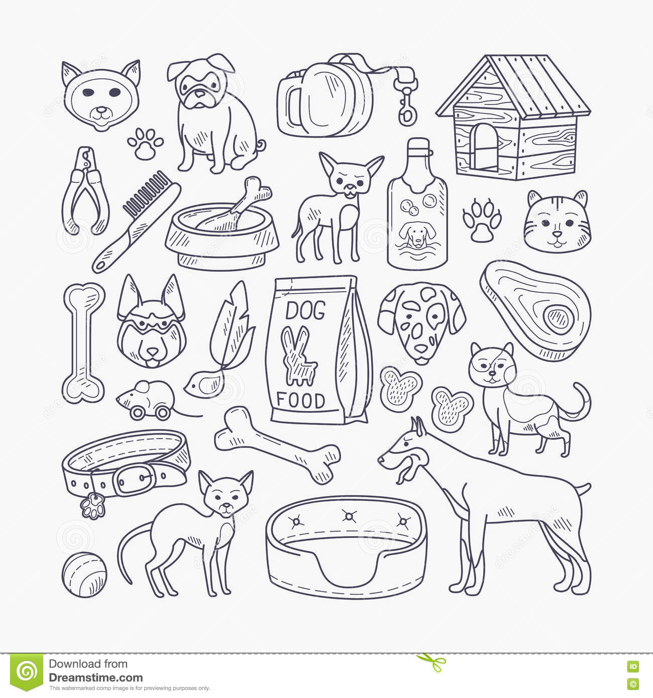 Vector Dog And Cat Signs Stock Vector Illustration Of