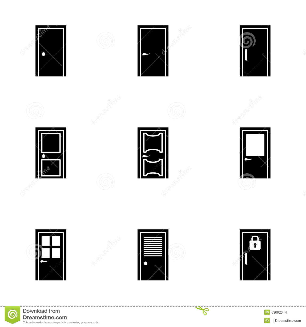 Vector door icon set stock vector. Image of frame, close