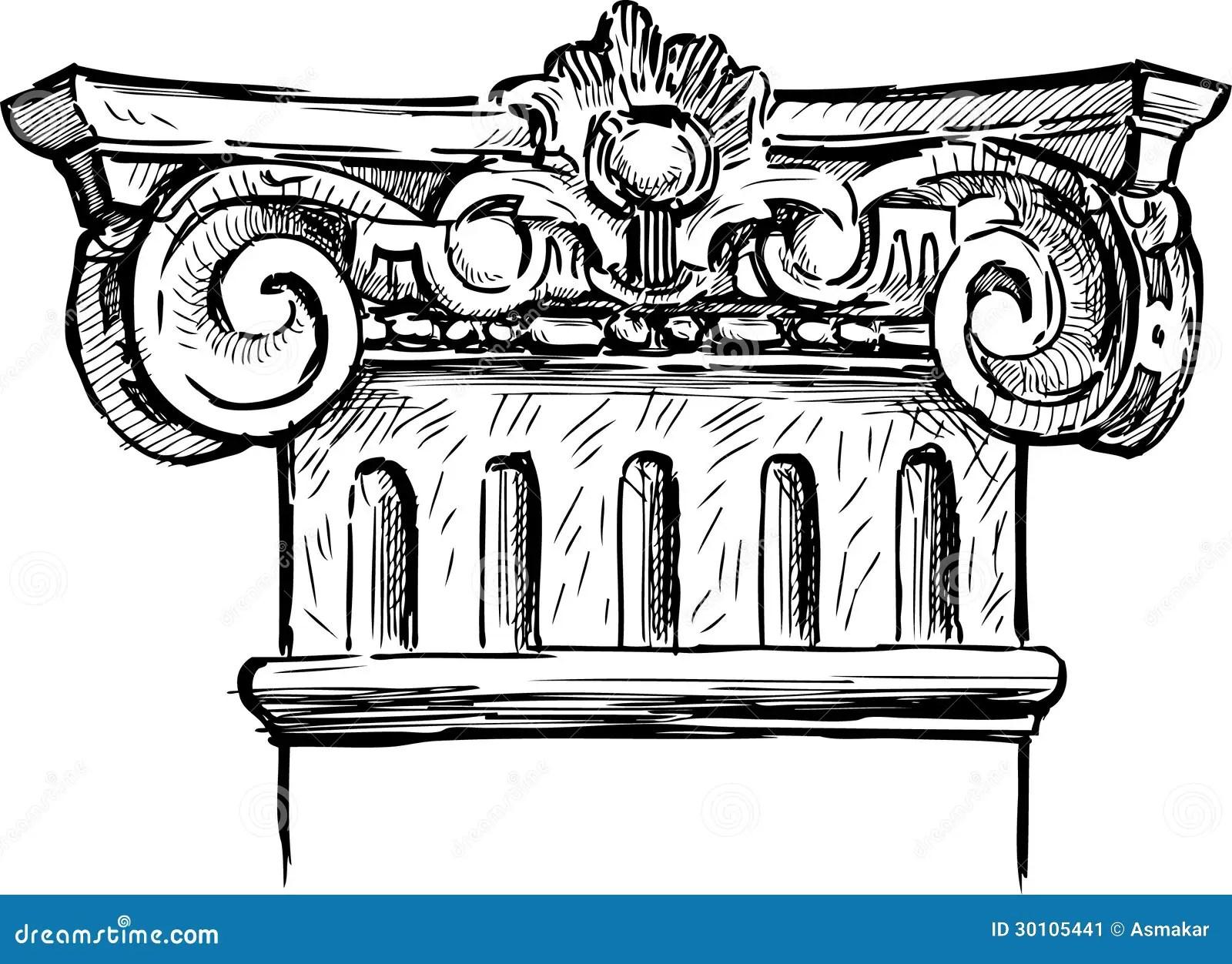 Fragment Of Antique Column Stock Image Image Of Decor